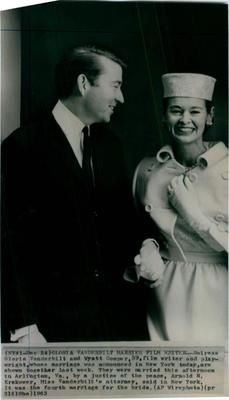 Heiress Gloria Vanderbilt and her fourth husband, Wyatt Emory Cooper, were married by a justice of the peace on December 24, 1963 in Arlington, Virginia. He is the father of CNN's Anderson Cooper.