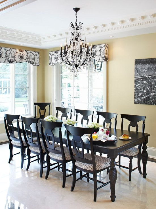 Great Dining Room, Black Furniture And Black And White Valances