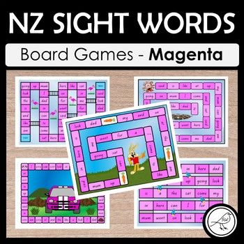 NZ sight words - Magenta - BOARD GAMES A set of 5 colourful and engaging board games for your students to practise their sight words at the Magenta level. Sight words are read when the player lands in that square. Some games have an endpoint (where players reach the 'finish') and some games are ongoing until the allocated time is up, or