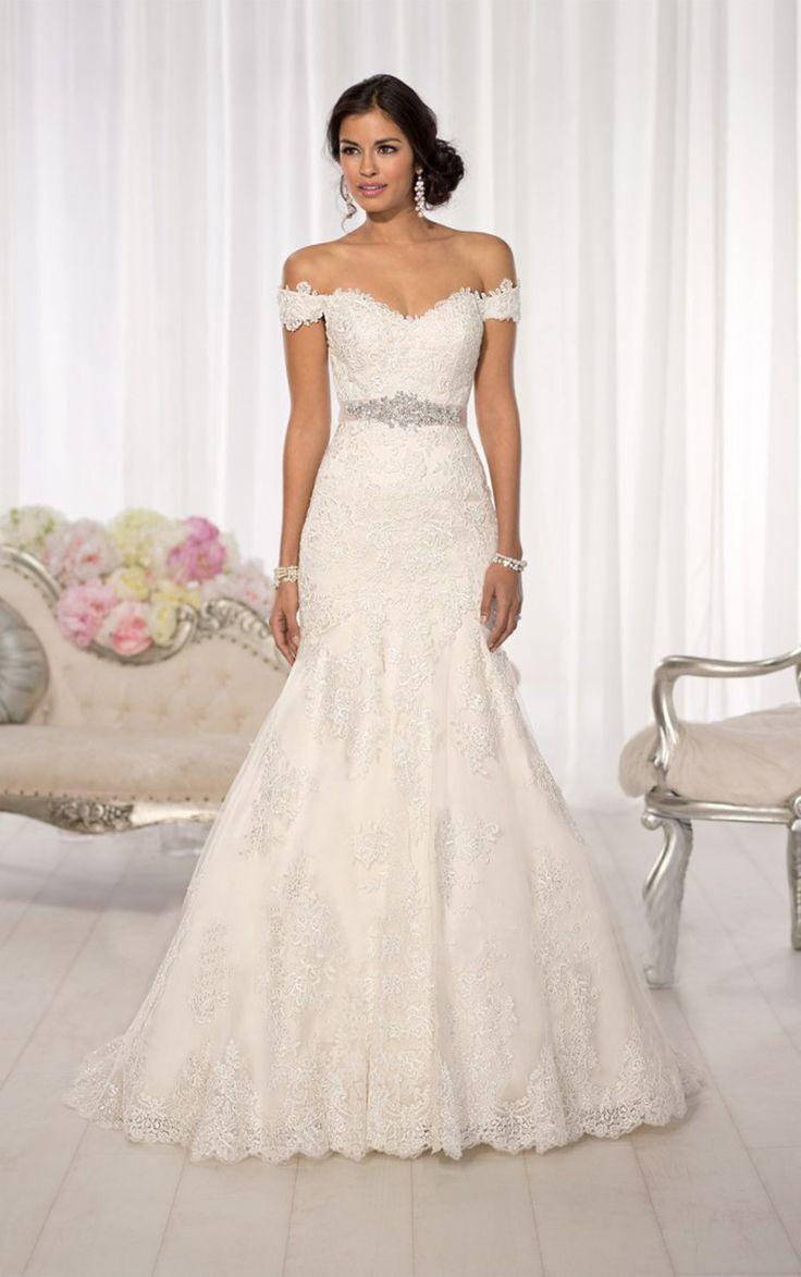 New Arrival Elegant Off The Shoulder Crystal Belt Lace Mermaid Wedding Dress 2015