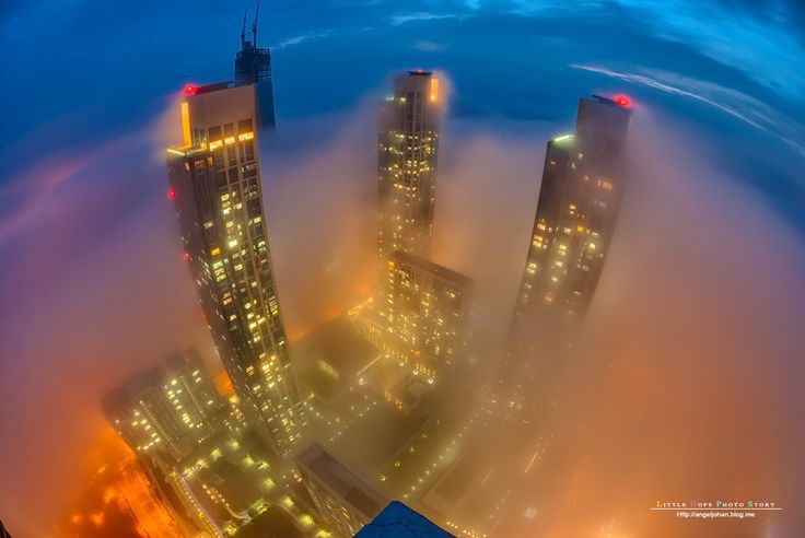 Covered with sea fog at night in Incheon by Johan Han on 500px
