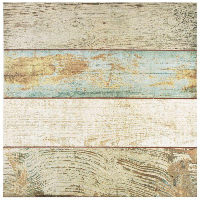 """EliteTile Royalty 17.75"""" x 17.75"""" Ceramic Wood Tile in Brown and Beige & Reviews   Wayfair"""