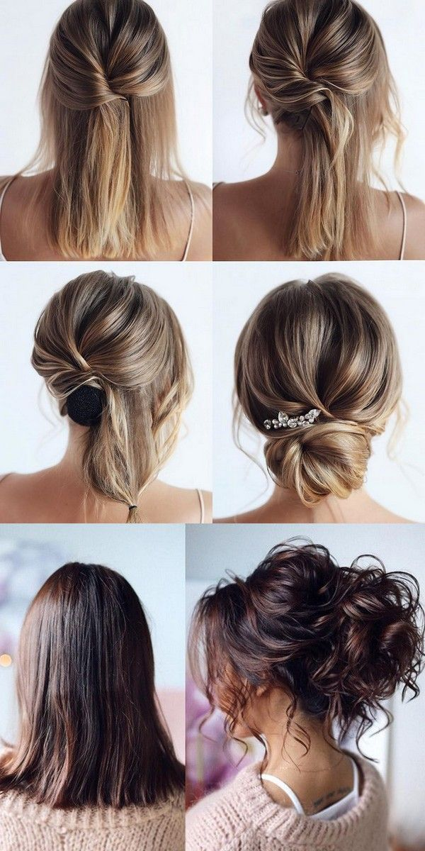 20 Medium Length Wedding Hairstyles For 2019 Brides 20 Medium Length W Coiffure Cheveux Mi Long Mariage Coiffure Cheveux Mi Long Coiffure De Mariage Chignon