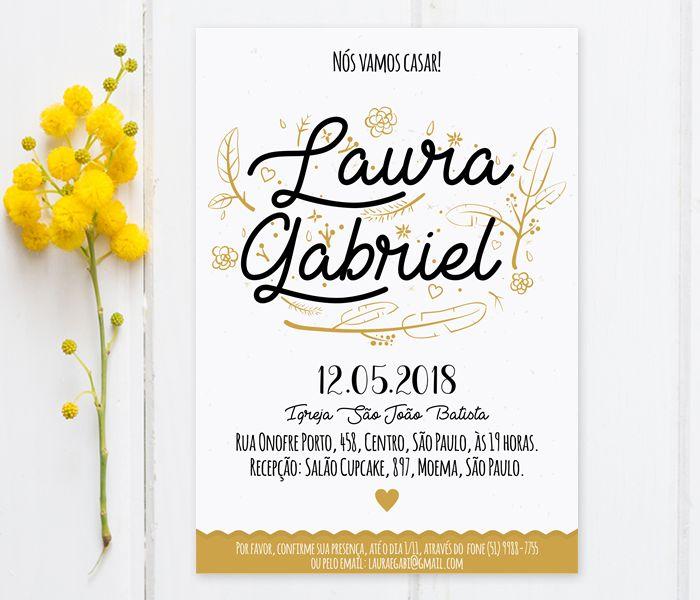 Convite de casamento dourado. #convitedecasamento #artedigital #conviteparaimpirmir