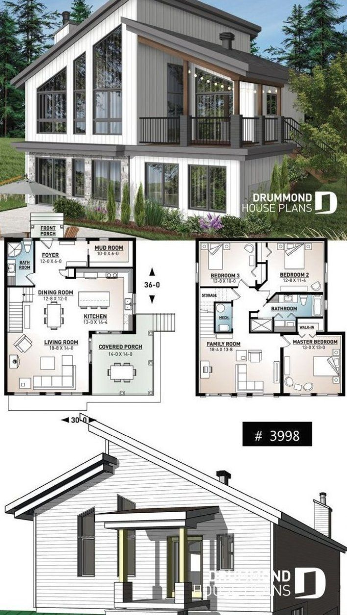 Ski Chalet House Plan Inverted Living And Panoramic View Cheaphomedecorfall Cheap In 2020 Cottage House Plans Country Cottage House Plans Beach Cottage House Plans