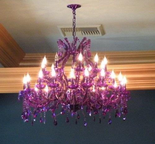purple chandelier!: Purple Room, Lighting, Style, Dream, Chandeliers, Decorating Ideas, Purple Passion, Bedroom Ideas