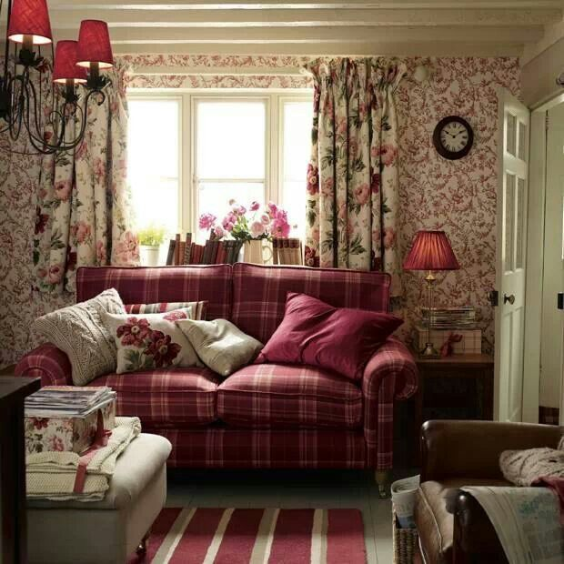 Country Cottage Living Room Furniture: Laura Ashley. Red Tartan Sofa. Cottage Living Room