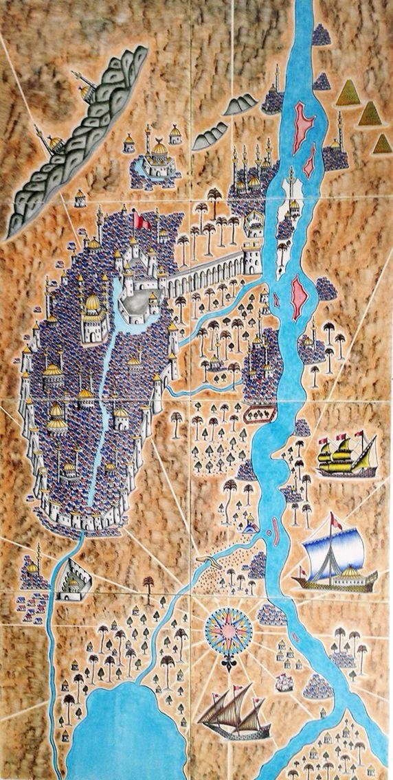 Piri Reis Çini Koleksiyonundan Kahire,Nil 80x160 cm