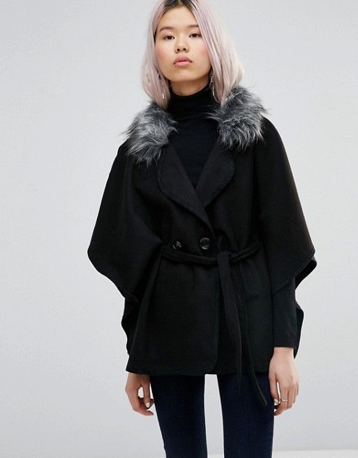 Wal G | Wal G Cape With Faux Fur Trim