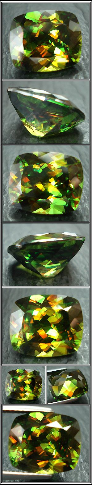 Sphene has an unusually high refractive index (1.843-2.110), higher than zircon, ruby and sapphire--unusual stone for green lady