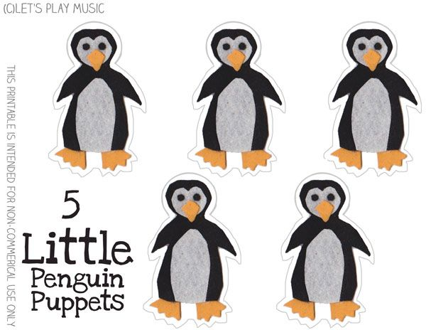 Let's Play Music : 5 Little Penguins - Winter Counting Song - Free Puppet Printable