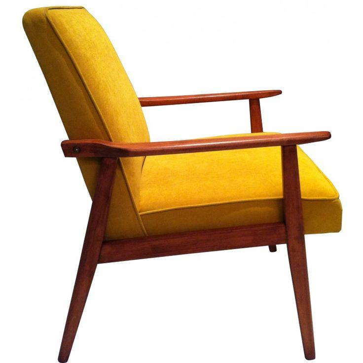 fauteuil sovi tique model 300 190 jaune ann es 60 vintage signes et simple. Black Bedroom Furniture Sets. Home Design Ideas
