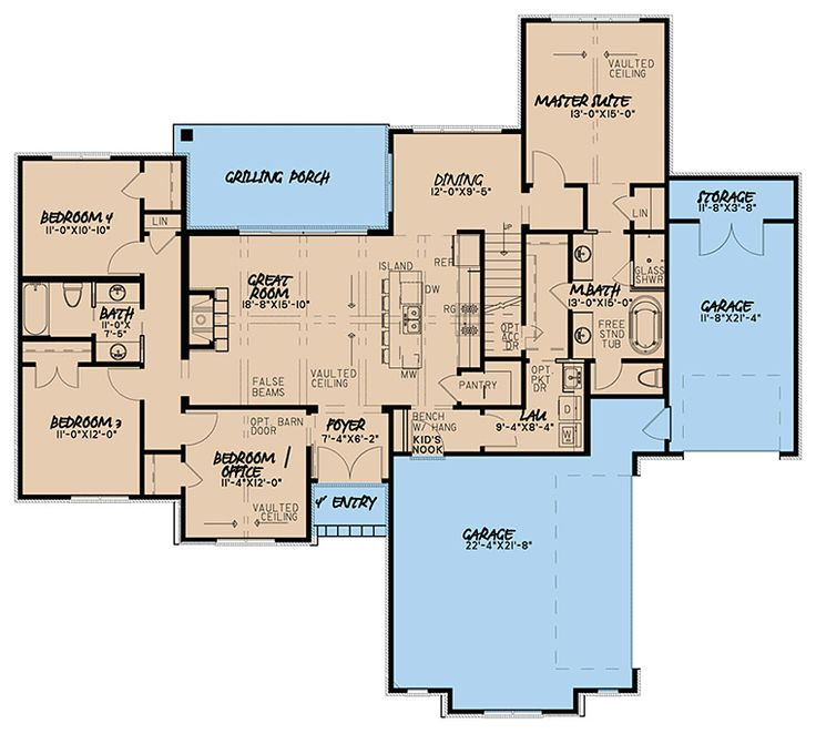 European French Country Traditional House Plan 82465 Level One