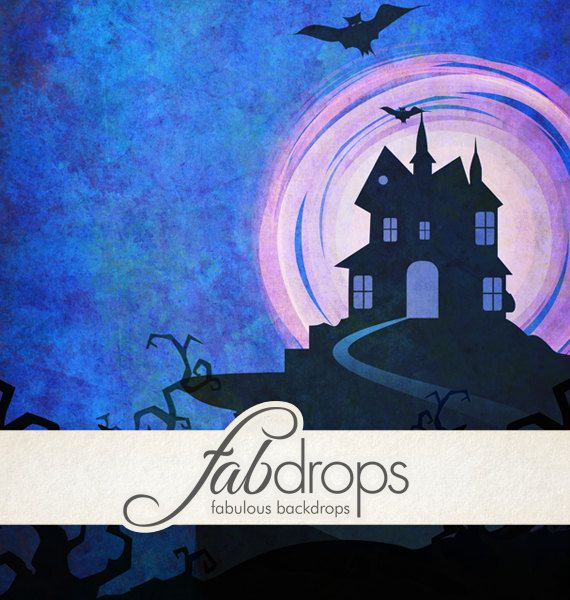 Halloween Photography Backdrop Scary House - Haunted Mansion In Purple Photo Booth Drop