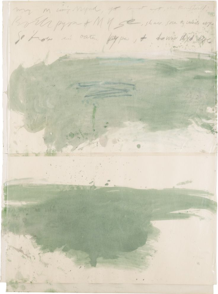 CY TWOMBLY 1928-2011 UNTITLED pencil, watercolour, crayon, waxed paper and cellophane tape on paper 143.5 by 105.4cm.; 56 1/2 by 41 1/2 in. Executed in 1976. via Sotheby's