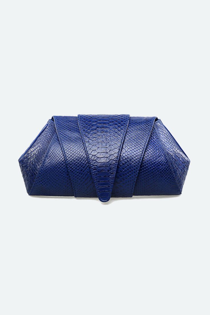 Soka Blue Python Leather Prom Clutch Bags