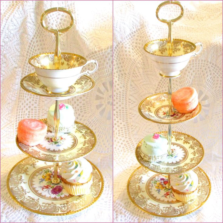 Tall Cream & Gold 3 Tier or 4-Tiered Cupcake Stand, Tea Tray, Cake Plate, Dessert Centerpiece with Cup and Saucer Display of an Ivory Yellow Paragon English Fine Bone China set with Teacup for French Macarons, Mad Hatter Party, Alice in Wonderland Birthday or Weddings Sweets Buffet Candy Table By High Tea for Alice by HighTeaForAlice on Etsy