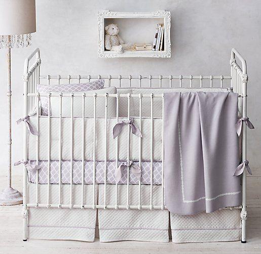 in grey Vintage-Washed Diamond Matelassé &  Trellis Print Nursery Bedding Collection