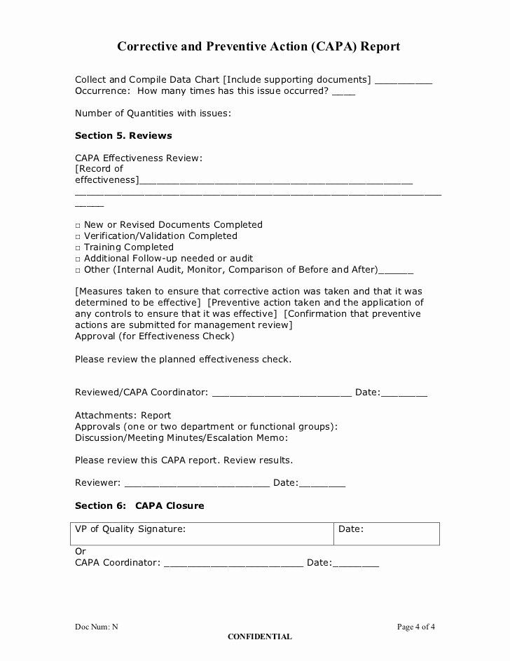Sample Capa Form Inspirational Corrective And Preventive Action