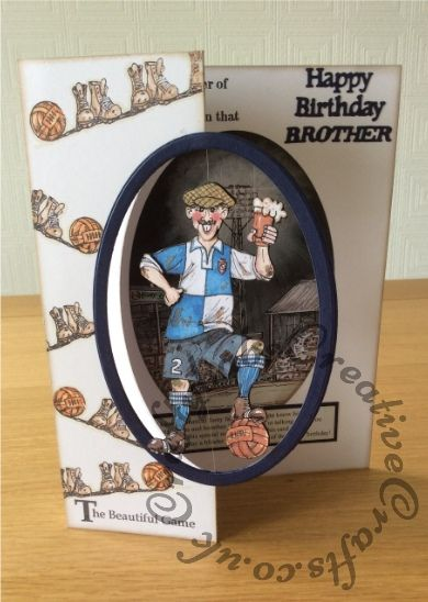 Birthday card made using La Pashe The Big One cd rom Flippin men football and…