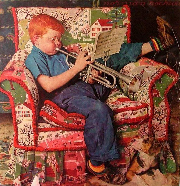 Norman Rockwell Christmas Paintings Santa Kids Chair