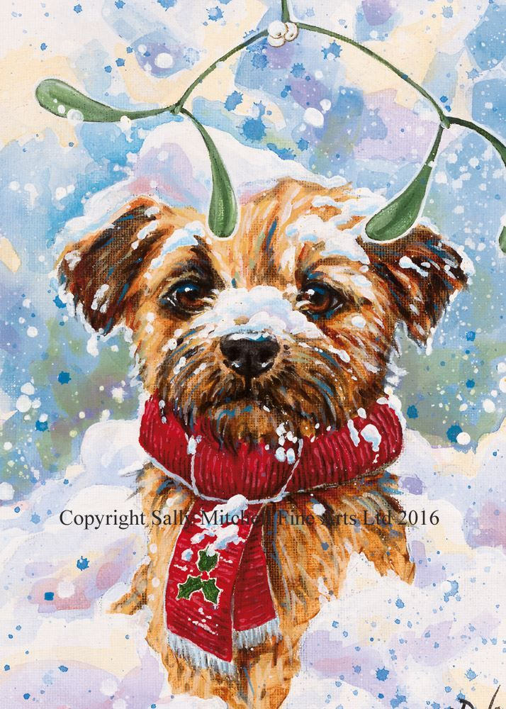 Border Terrier Christmas Cards 'Christmas Trimmings' by Paul Doyle Pack of 10 Cards C370X
