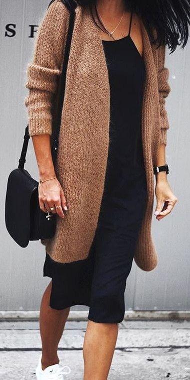 midi dress. knitted cardigan. street style.
