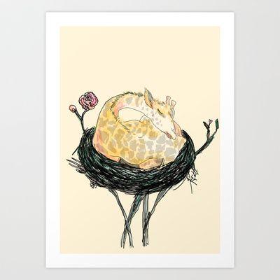 Nesting baby giraffe Art Print by katrinaward - $20.80