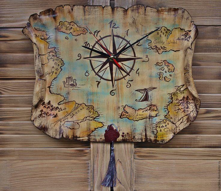 """Купить Часы настенные """"Карта мира"""" - бежевый, часы настенные, часы, часы с картой"""