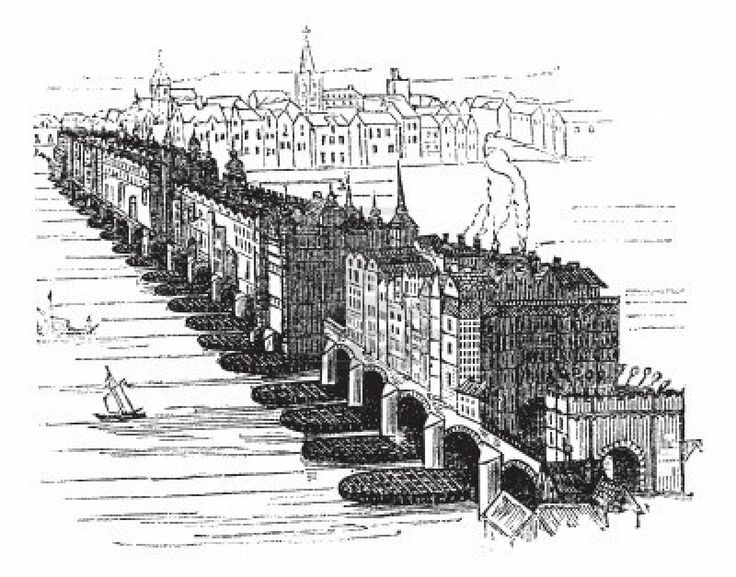 Old Medieval London Bridge, in England, United Kingdom, in 1616, vintage engraved illustration. Trousset encyclopedia (1886 - 1891).