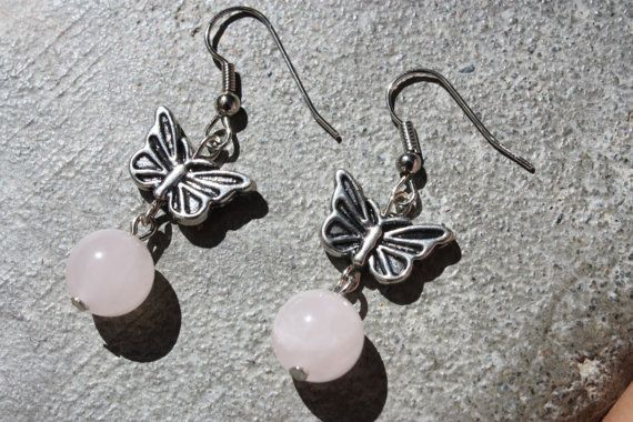 Silver Tone Butterfly Earrings With Rose by ForTheLoveOfColour