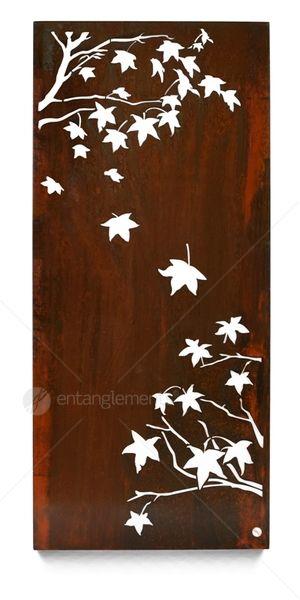 Example of wall art for ensuite garden   Entanglements Laser Cut Metal Art, Liquid Amber