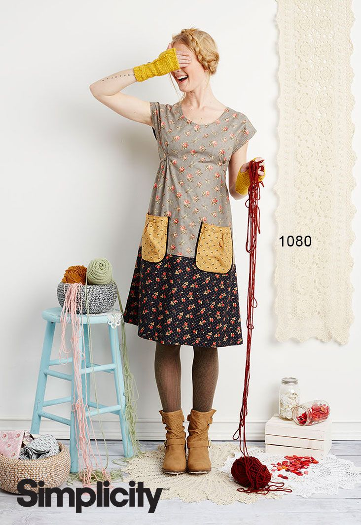 """We love Dottie Angel's """"granny chic"""" style frock and tunic for Simplicity. It's so fun to sew using a mix of pretty prints! Simplicity pattern 1080"""