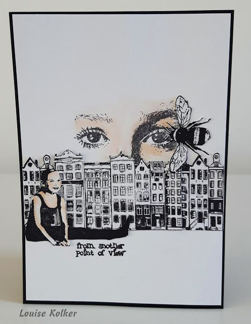 Follow me on my Art Journey: Art Journey Challenge # 77: Zwart/wit met nog 1 kleur. Black and white and 1 other color