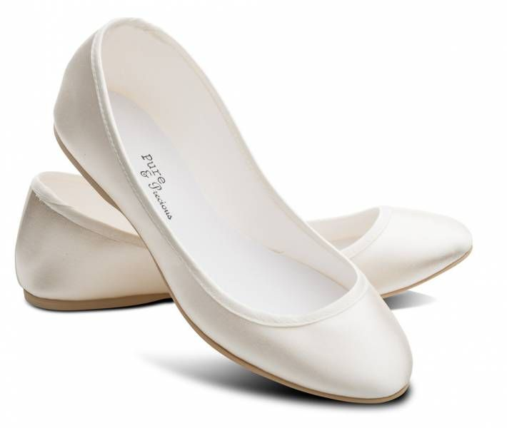 "Made in the UK, dyeable, Ivory or White Satin shoes style ""Lucy"" by Pure & Precious. Made from satin and resin (so... vegan?)"