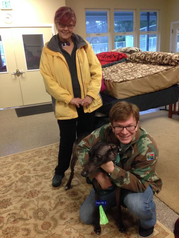 Matilda (fka Iona) with new Dad, Benjamin and me aunt. Congratulations to this new #fureverfamily!  #adoptaretiredracer #greyhoundsmakegreatpets