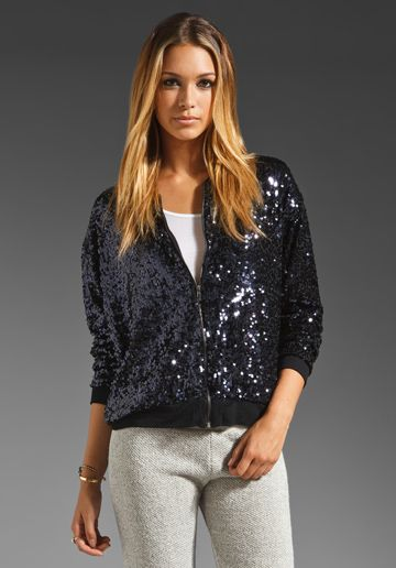 EIGHT SIXTY Sequin Bomber Jacket in Black/Midnight