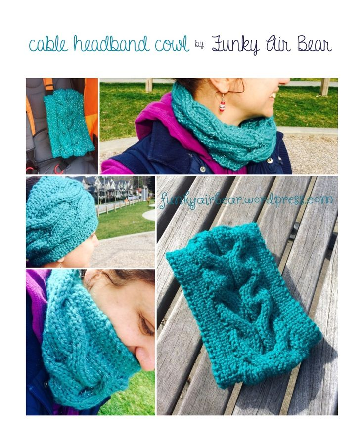 Cable Headband Cowl FREE knitting pattern ||| Funky Air Bear