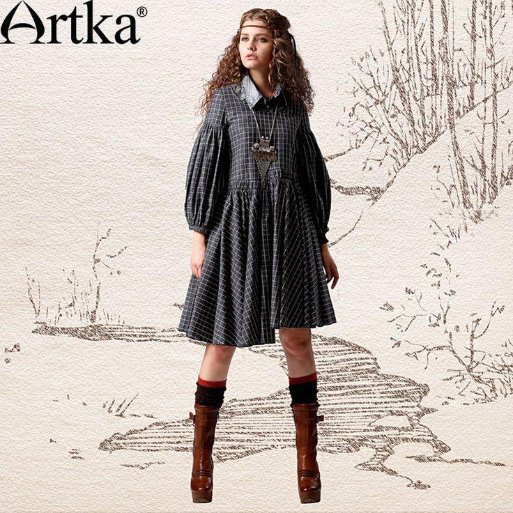 Artka Women'S Autumn Retro Vintage Wide Scoop Neck Three Quarter Lantern Sleeve Plaid Loose Waist Cotton Dress LA10342C