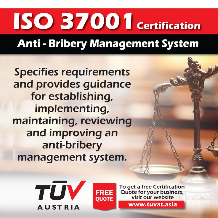 ISO 37001 Certification is designed to help your organization implement an anti-bribery management system or enhance the controls you currently have. For further information visit: tuvat.asia/get-a-quote or call Pakistan: +92 (42) 111-284-284   Bangladesh +880 (2) 8836404 to speak with a representative. #ISO #TUV #certification #inspection #pakistan #iso37001 #bangladesh #lahore #karachi #dhaka