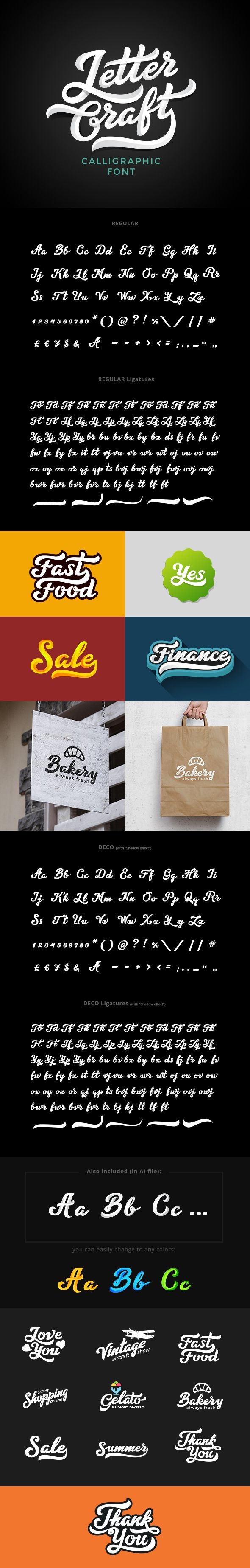 Letter Craft Font — TrueType TTF #calligraphic #coffee • Available here → https://graphicriver.net/item/letter-craft-font/19901615?ref=pxcr
