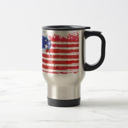 #watercolor grunge American Flag Travel Mug - #LaborDay Labor Day #labor #day #patriotic #summer #barbecue #bbq #party