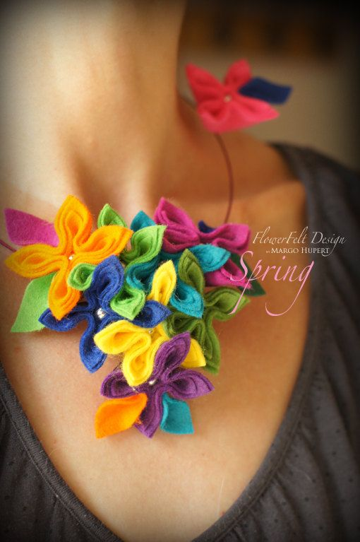 Felt necklace modern romantic flowers jewelry wedding spring flower colors  green