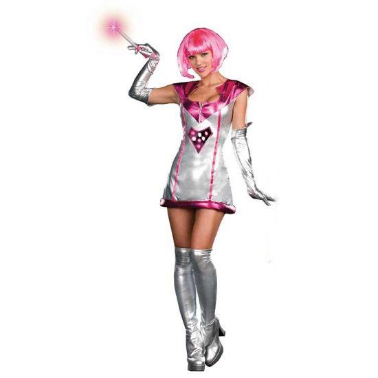 Sexy space jurkje met licht. Zilveren stretch jurkje met LED lampjes die aan en uit gezet kunnen worden. De lampjes reageren op muziek, stem of beweging. Inclusief staf. Batterijen, laarshoezen en handschoenen niet inbegrepen. Carnavalskleding 2015 #carnaval