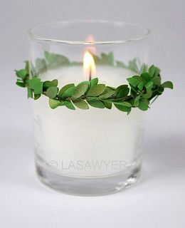 """Green Vines - Votive Candle Wedding Decoration by LASawyer, via Flickr can also use shamrock scrapbooking sticker or etching on it or even a gold """"F"""" for Fountain"""