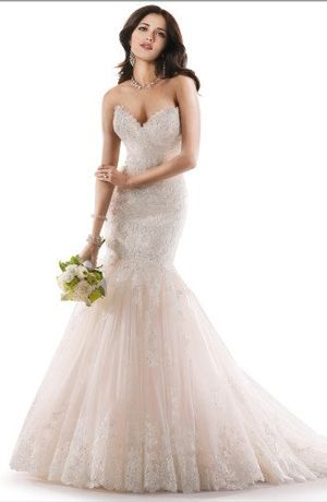 Sweetheart Fit and Flare Wedding Dress  with Natural Waist in Lace. Bridal Gown Style Number:33008863
