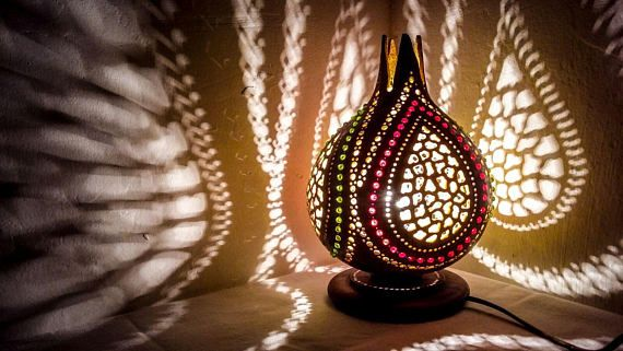 100% HANDMADE CHRISTMAS Gourd lamp art deco handcrafted