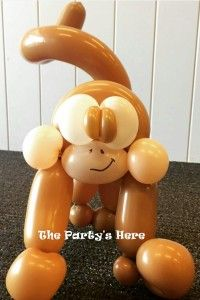 Twisted Monkey for a Jungle Party. SO cute! We can create just about anything for your party, just ask.   www.thepartyshere.com.au  #balloons #thepartyshere #monkey #jungle #safari #twistedballoons