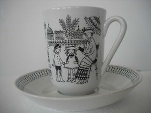 Vintage ARABIA Finland EMILIA Black & White Tall Mug/Cup & Saucer