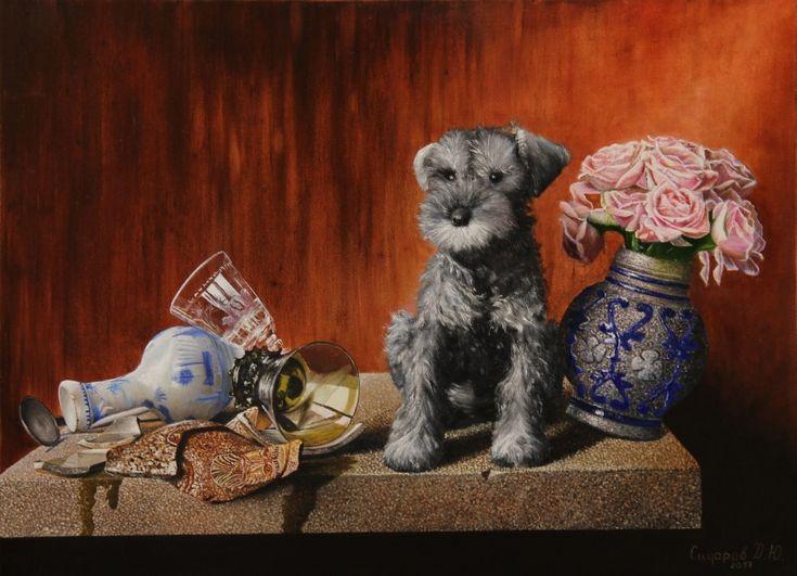 Натюрморт с собакой. Автор: Сидоров Денис. #натюрморт #цветы #холстмасло #картинамаслом #живописьмаслом #собаки #картина